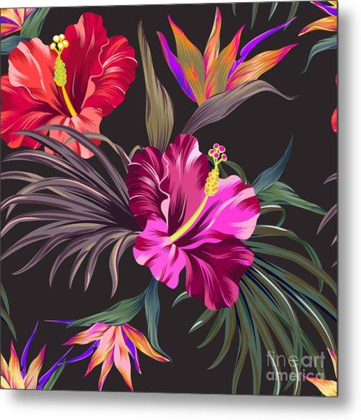 Seamless Vector Tropical Pattern Metal Print