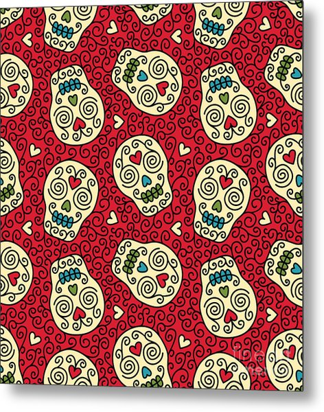 Seamless With Mexican Skulls Metal Print