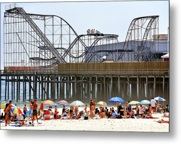 Seaside Heights Star Jet Roller Coaster Color 2006 Metal Print by John Rizzuto