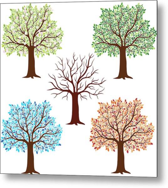 Seasonal Trees Metal Print by Flyinggiraffestudio