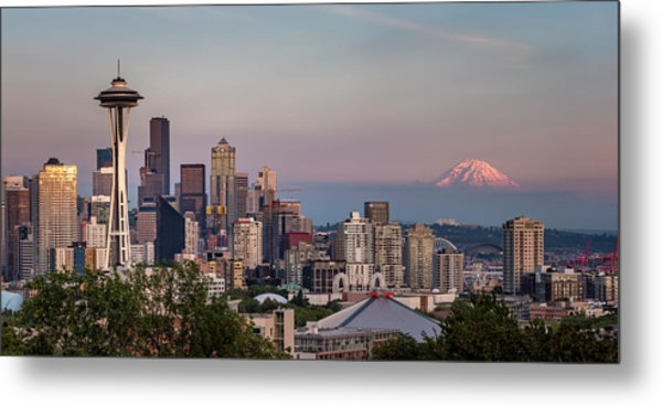 Metal Print featuring the photograph Seattle Skyline And Mt. Rainier Panoramic by Adam Romanowicz