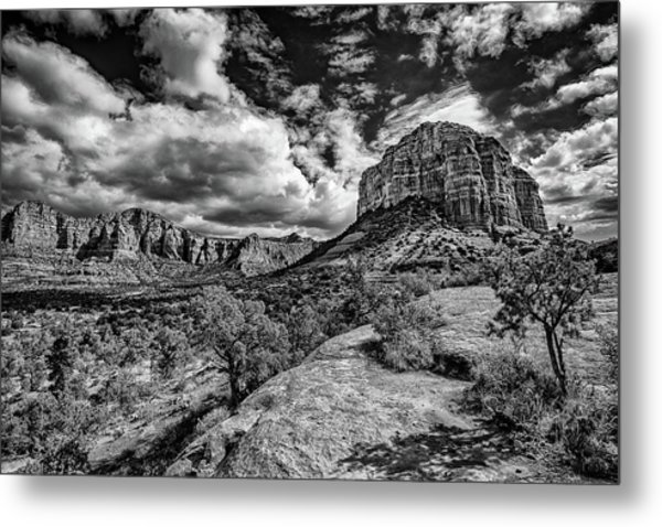 Sedona Landscape B And W Metal Print