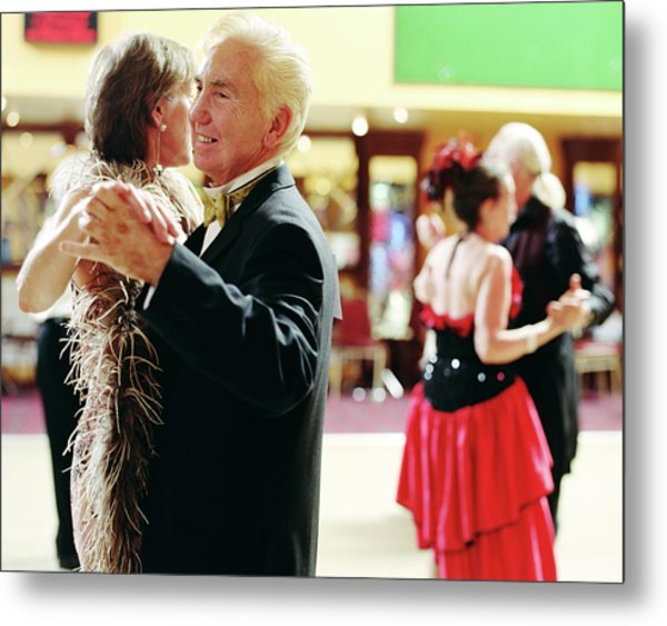 Senior And Mature Couples Dancing Metal Print