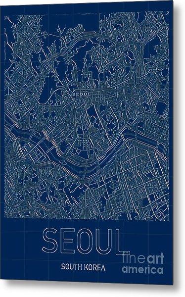 Seoul Blueprint City Map Metal Print