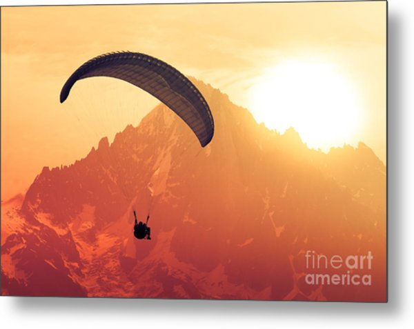 Sepia Paraglide Silhouette Over Alps Metal Print