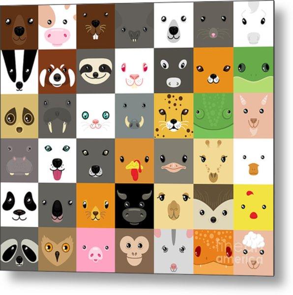 Set Of Cute Simple Animal Faces Metal Print by Olesia Misty