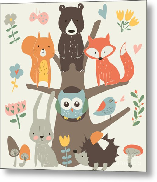 Set Of Forest Animals In Cartoon Style Metal Print