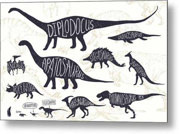 Set Of Silhouettes Of Dinosaurs And Metal Print