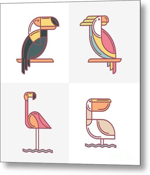 Set Of Vector Exotic Tropical Birds Metal Print