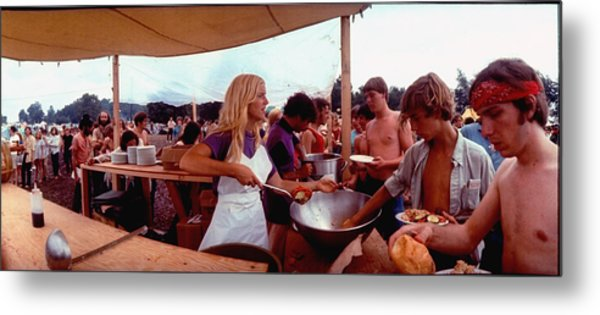 Several Young People Dishing Out Food To Metal Print by John Dominis