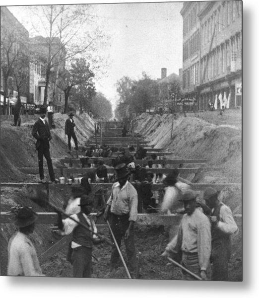 Sewer Digging Metal Print by Hulton Archive