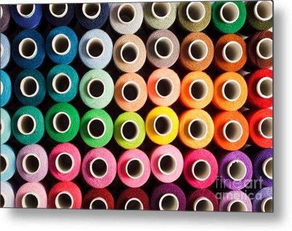 Sewing Threads As A Multicolored Metal Print