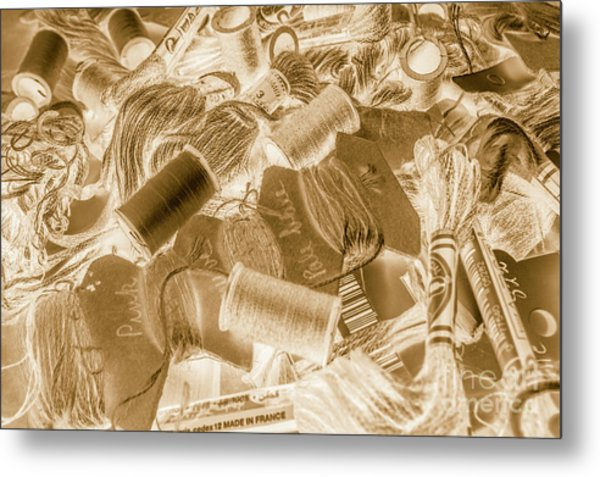 Sewn In Sepia Metal Print