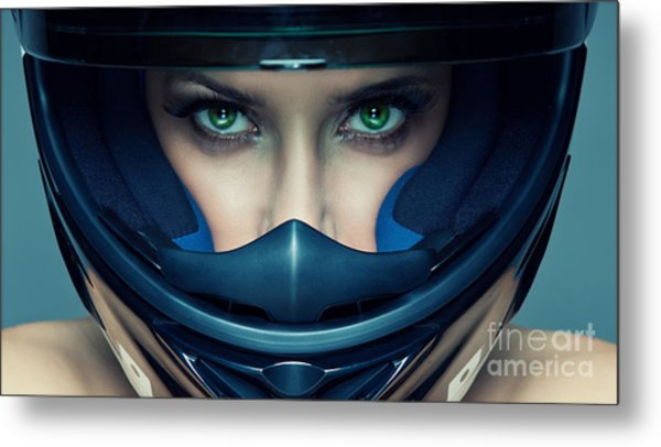 Sexy Woman In Helmet On Blue Background Metal Print