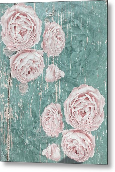 Shabby Chic Roses Distressed Metal Print