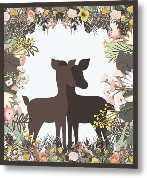 Shadowbox Deer Metal Print