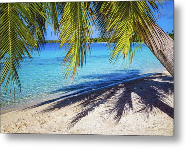 Shadows On The Beach, Takapoto, Tuamotu, French Polynesia Metal Print