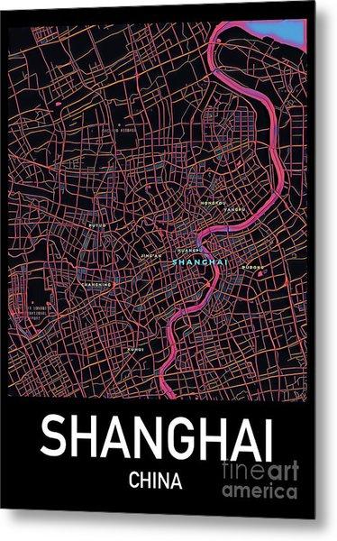 Shanghai City Map Metal Print