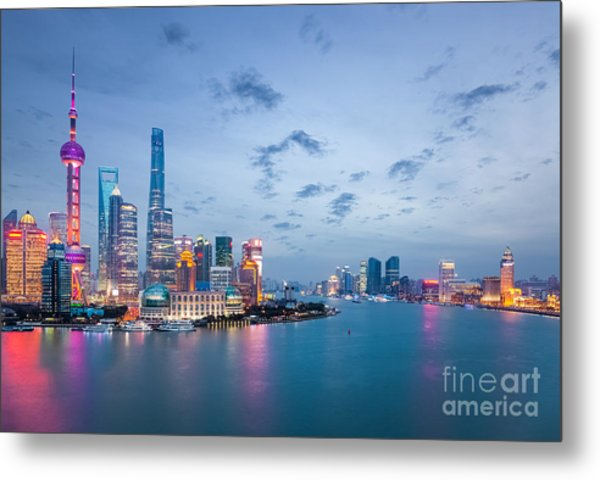 Shanghai In Nightfall, Beautiful Metal Print