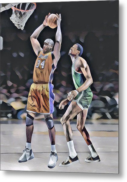Shaquille O Neal Vs Bill Russell Abstract Art 1 Metal Print