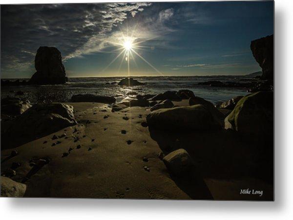 Shell Beach Sunburst Metal Print