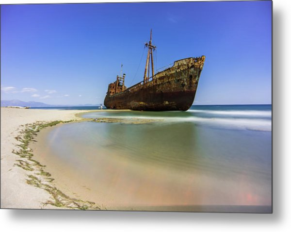 Shipwreck Dimitros Near Gythio, Greece Metal Print