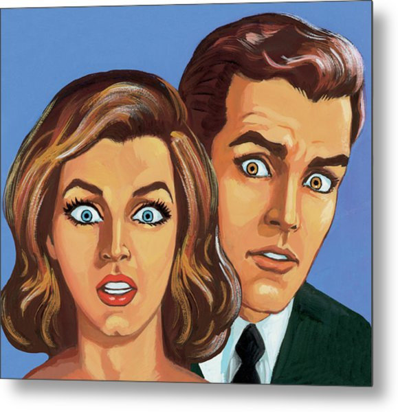 Shocked Couple Metal Print