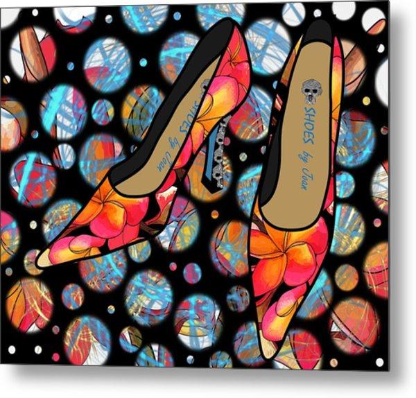 Shoes By Joan - Frangipani Pattern Pumps Metal Print