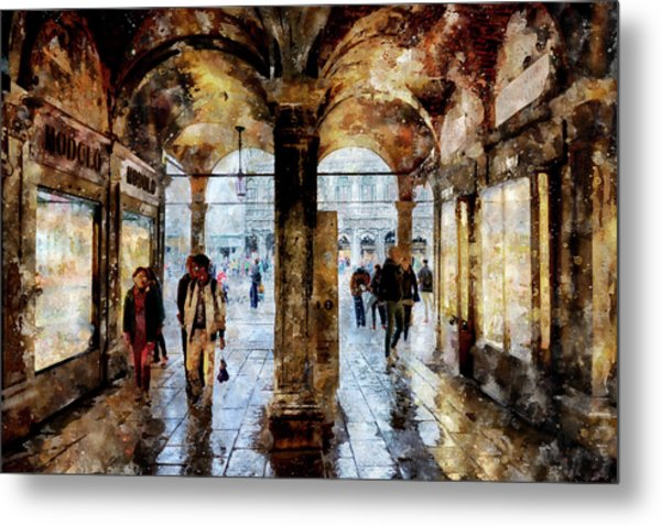 Shopping Area Of Saint Mark Square In Venice, Italy - Watercolor Effect Metal Print