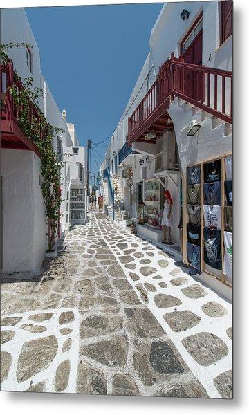 Shopping Street In Mykonos Metal Print by Ed Freeman