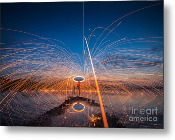 Showers Of Hot Glowing Sparks From Metal Print