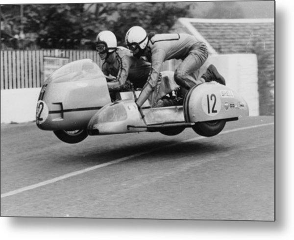 Sidecar Tt Race, Isle Of Man, 1970 Metal Print