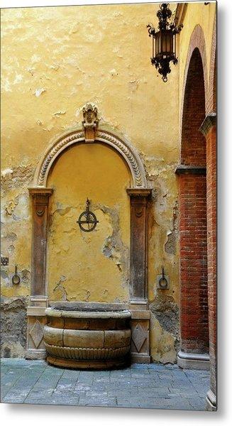 Sienna Fountain Courtyard Metal Print