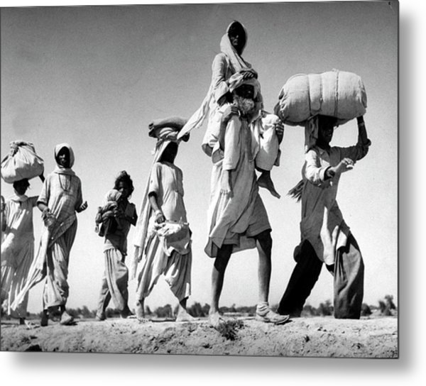 Sikh Carrying His Wife On His Shoulders Metal Print