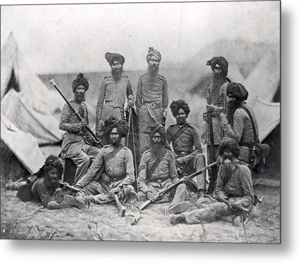 Sikh Soldiers Metal Print by Felice Beato