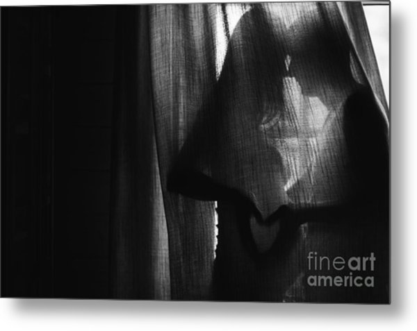 Silhouette Beautiful Pregnant Woman And Metal Print