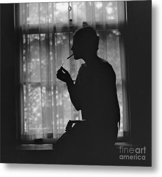 Silhouette Of A Stylish Women Smoking Metal Print