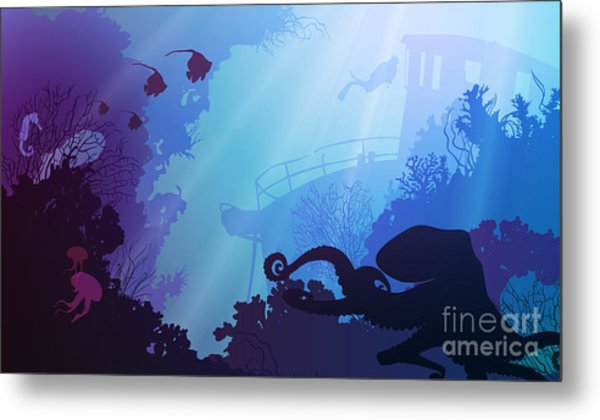 Silhouette Of Underwater Marine Life Metal Print by Eva mask