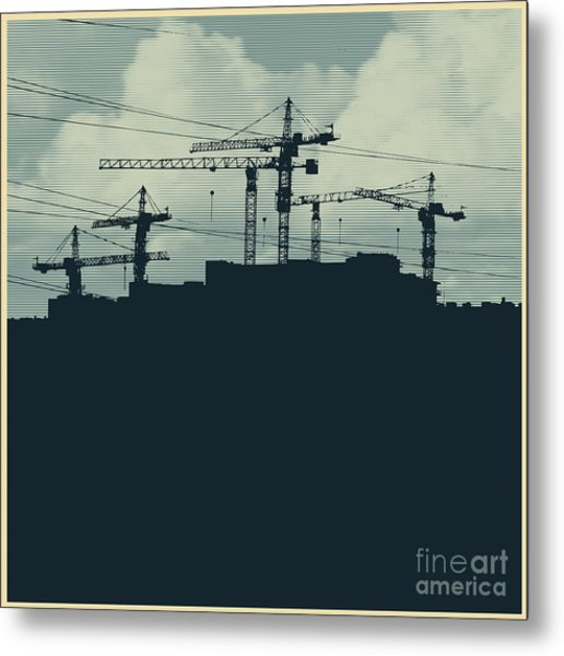 Silhouette With A Cranes And Metal Print