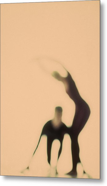 Silhouettes Of Couple Doing Exercises Metal Print