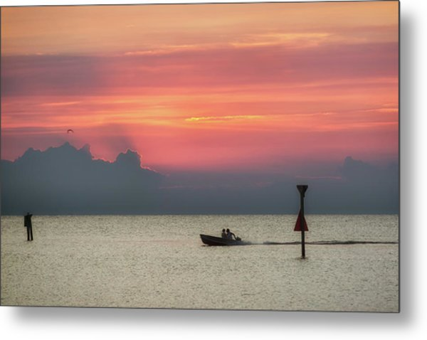 Silhouette's Sailing Into Sunset Metal Print