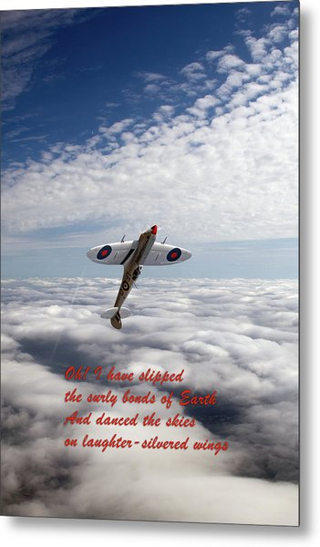 Metal Print featuring the photograph Silver Spitfire - Slipping The Surly Bonds ... by Gary Eason