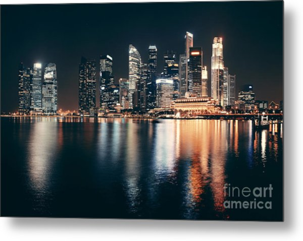 Singapore Skyline At Night With Urban Metal Print by Songquan Deng