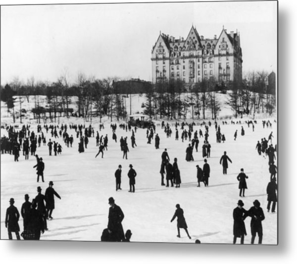 Skating In Central Park, Nyc Metal Print by Fotosearch