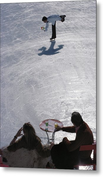 Skating Waiter Metal Print by Slim Aarons
