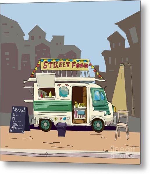 Sketch Car Street Food, City, Cartoon Metal Print by Valeri Hadeev