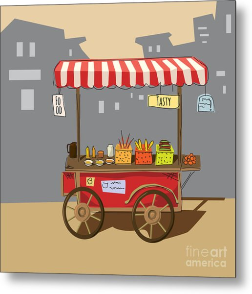 Sketch Of Street Food Carts, Cartoon Metal Print by Valeri Hadeev