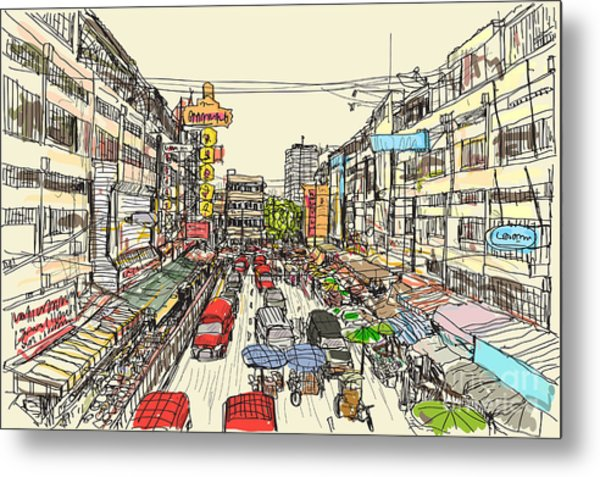 Sketch Thai Local Market Place In Metal Print