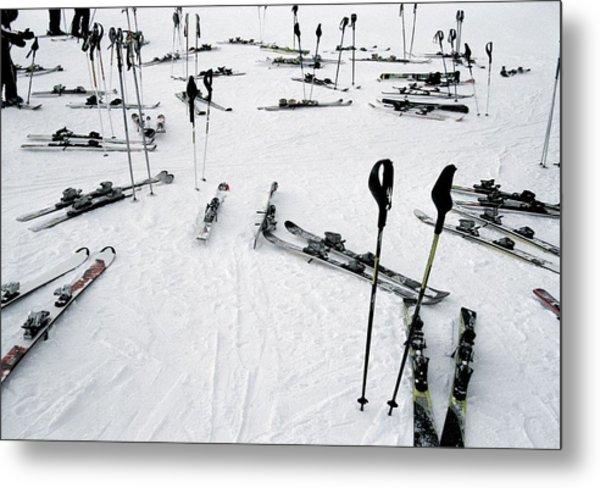 Ski Equipment On The Slopes At A Ski Metal Print