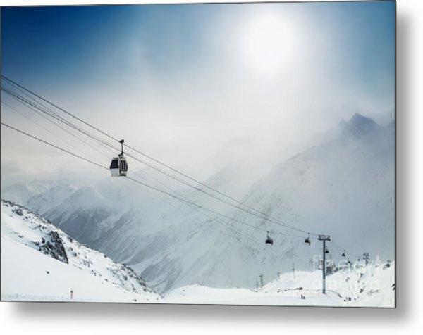 Ski Resort In The Winter Mountains Metal Print by Olga Gavrilova
